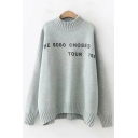 Basic Simple Letter Printed Mock Neck Long Sleeve Loose Fitted Sweater