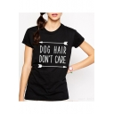 Hot Sale Letter DOG HAIR DON'T CARE Printed Short Sleeve Round Neck Loose Black Cotton Tee