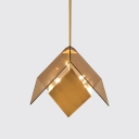 Amber Prism Pendant Fixture Post Modern Metal and Glass 3 Light Hanging Lamp for Dining Room