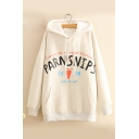 Winter's Chic Letter Pattern Long Sleeve Loose Fitted Hoodie