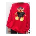 Cute Cartoon Bear Pattern Round Neck Long Sleeve Sweatshirt