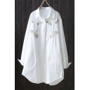 Fresh Casual Long Sleeve Lapel Collar Dragonflies Embroidered Button Down Tunics White Shirt