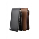 Classic Men Letter Printed Double Zip Closure Card Case Wallet
