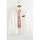 Letter CAT Embroidered Pink Tied Callar Long Sleeve White Button Down Shirt