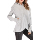 Women's Hot Fashion Long Sleeve Basic Solid Irregular Loose Fitted Hoodie