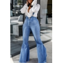 Fashion Light Blue Plain Casual Flare Overall Jeans