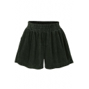 New Fashion Loose Plain Elastic Waist Corduroy Shorts