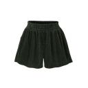 New Fashion Loose Plain Elastic Waist Corduroy Shorts