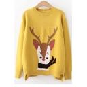 Cute Cartoon Deer Printed Long Sleeve Round Neck Leisure Sweater for Girls