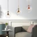 Nickel/Gold/Rose Copper Sphere Pendant Light Post Modern 1lt Suspension Lamp in Warm/White Light