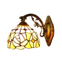 Elegant Rose Wall Lamp Tiffany Style Stained Glass Decorative Wall Sconce in Multicolor