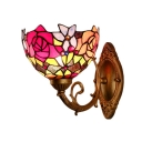 Blue/Red Rose Wall Lamp Tiffany Style Stained Glass Wall Sconce for Bathroom Bedroom