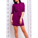 Summer's 3/4 Length Sleeve Stand Collar Button Down Tie Waist Mini Shirt Dress