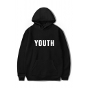 Fashion Letter YOUTH Pattern Long Sleeve Casual Loose Fitted Sports Hoodie
