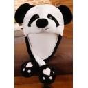 Funny Cartoon Panda Printed Ear Moving Jumping White Cap