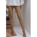 Women's New Arrival Unique Elastic Waist Solid Ruched Detail Skinny Pants