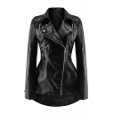 Street Style Long Sleeve Notched Lapel Collar Plain Zip Placket Black PU Jacket