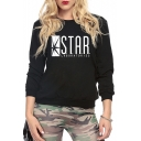 Women's Long Sleeve Letter STAR Printed Round Neck Sweatshirt