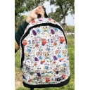 Cute Cartoon Printed Zip Closure White Backpack Schoolbag