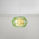 Sphere Shade Cord Hanging Light Vintage Colorful Fabric Shade Drop Light in Green/Red/Yellow