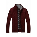 Chic Plaid Print Inside Long Sleeve Stand Collar Zip Up Slim Fitted Cardigan