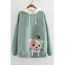 Lovely Cartoon Cat SMILE Letter Embroidered Long Sleeve Loose Leisure Hoodie