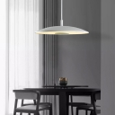 Frosted Glass Shallow Round Pendant Lights Nordic Style 1 Light Hanging Pendants in White 12