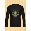 New Arrival Letter Dart Pattern Crewneck Long Sleeve Black Fitted T-Shirt