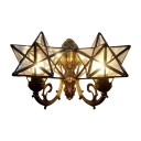 Star Wall Sconce Tiffany Style Clear/Rippled Glass 2 Lights Wall Mount Fixture for Children Room