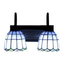 Stained Glass Gooseneck Wall Lighting Tiffany Style 2 Lights Wall Mount Light in Blue/Yellow