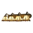 Beige Glass Dragonfly Wall Lamp Tiffany Vintage Four Lights Wall Mount Fixture for Foyer
