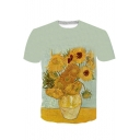 Casual Sunflower Pattern Crew Neck Short Sleeve Tee for Unisex