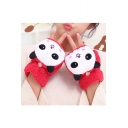 Women's Warm Wool Cartoon Panda Printed Fingerless Convertible Gloves