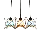 Triple Heads Metal Frame Pendant Lamp Vintage Stained Glass Suspended Lamp for Hallway