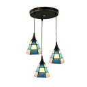 Blue Checkered Pattern Pendant Lamp Tiffany Nautical Stained Glass Triple Hanging Lamp