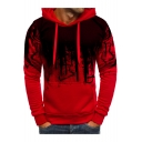 Retro Red and Black Color Block Long Sleeves Pullover Hoodie with Pocket