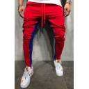 Unique Red and Blue Color Block Drawstring Waist Slim Leg Men's Workout Pants