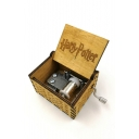 Retro Letter HARRY POTTER Carved Wooded Hand Cranked Yellow Music Box 6.4*5.2*4.2CM