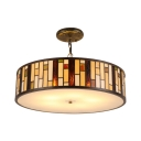 Tiffany Craftsman Drum Suspended Lamp Glass 3 Light Drop Ceiling Lighting in Multi Color
