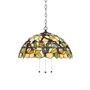 1 Bulb Bird Design Drop Ceiling Lighting Vintage Stained Glass Hanging Light in Multi Color