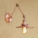 Copper Finish Flared Wall Lamp Industrial Adjustable Iron Single Light Wall Mount Fixture
