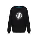Long Sleeve Round Neck Contrast Trim The Flash Printed Loose Sweatshirt
