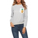 Popular Long Sleeve Round Neck Pineapple Printed Pocket Patched Gray Sweatshirt
