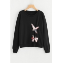Chic Bow-Tied Embellished Round Neck Long Sleeve Black Sweatshirt