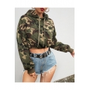 Stylish Long Sleeve Camouflage Printed Cropped Green Hoodie