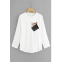 Fashion Sequined Patched Chest Round Neck Long Sleeve White T-Shirt