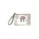 White Cute Cartoon Animal Elephant Floral Printed Mini Coin Pouch Purse