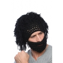 Funny Knit Handmade Wig Winter Hat with Beard Ski Mask for Couple