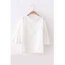 Round Neck Half-Sleeve Bell Sleeve Hollow Out Detail White Pullover Blouse
