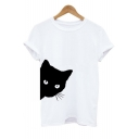 Fashion Round Neck Short Sleeve Cartoon Cat Printed Leisure Tee